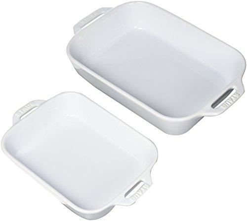 Staub 40508-626 Ceramics Rectangular Baking Dish Set, 2-piece, White