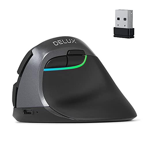 DELUX エルゴノミクスマウス ワイヤレス 人間工学設計 縦型 静音ボタン 2.4G無線マウス BlueTooth4.0 光学式 可調整DPI 6ボタン 腱鞘炎防止 垂直マウス(M618 miniブラック)