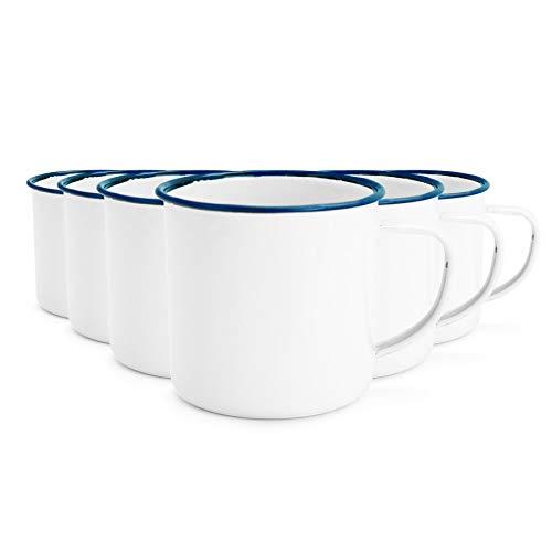 Espresso-/Kaffeebecher mit Emaille-Beschichtung - Weiß mit blauem Rand - 150 ml - 6er-Set