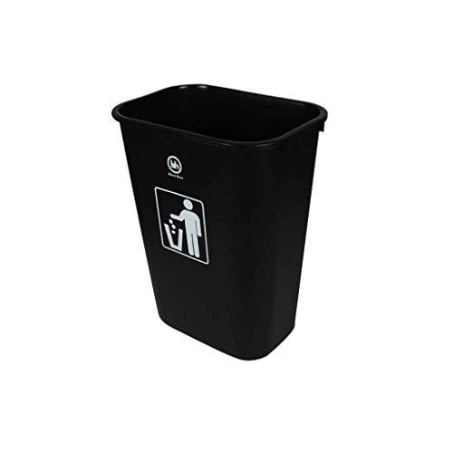 POETRY Garbage Tribe 45 l mand voor buiten zonder deksel mand voor huis van kunststof rechthoekig industrieel gebruik Verdikking Antislip mand Gemakkelijk te reinigen (zwart) Zwart