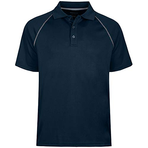 Mens High Moisture Wicking Side Blocked Outdoor Recreation Polo Shirts, Navy, 4XL