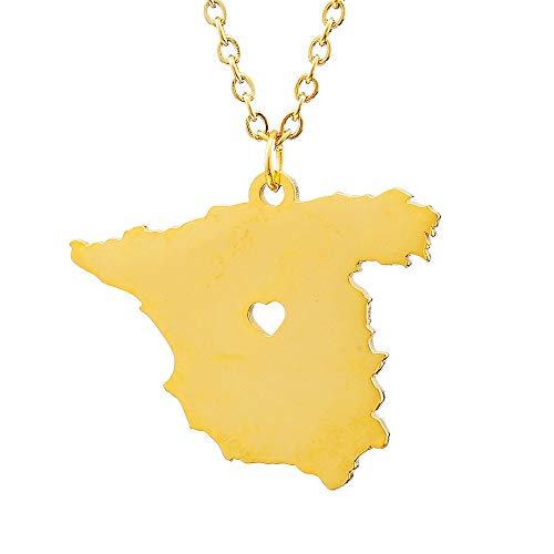 nobranded Estilo Hip-Hop España Mapa Colgante Collares de Acero Inoxidable para Mujeres Hombres Oro Color Encanto español mapas joyería Regalos