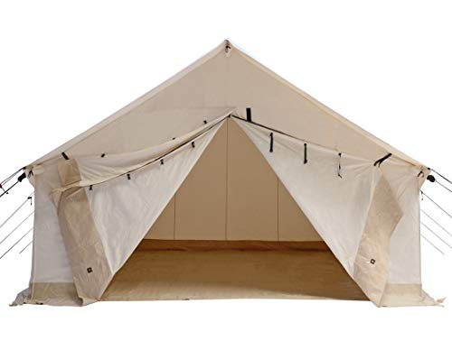 WHITEDUCK Alpha Canvas Wall Tent Waterproof 4 Season Outdoor Camping & Hunting Tent w/Heavy Duty Aluminum Frame, Best for Large Groups, Families & Outfitters (16'x20', Water Repellent)