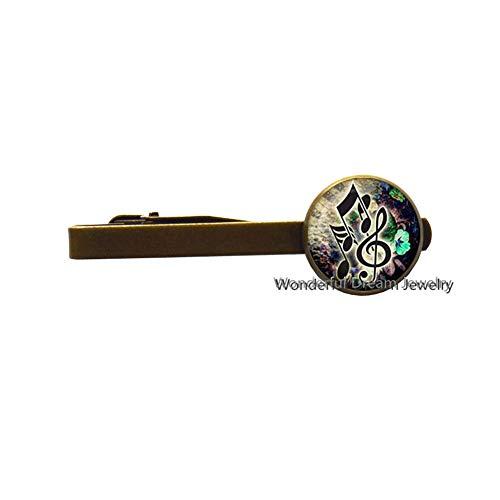 Handmade Tie Pin Musical Art Tie Clip for Women,Music Note Tie Clip Musician Tie Clip Musician Gift Music Tie Clip,PU090 (Brass)