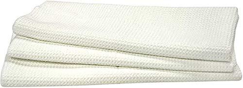 Eurow - Asciugamano da cucina in microfibra a nido d'ape, confezione da 3, colore: Bianco