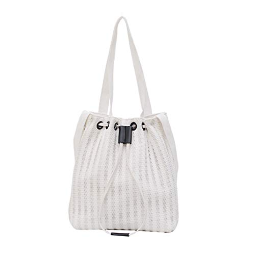 Best Review Of Drawstring Lace Bucket Bag Canvas Tote Handbag for Women