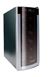Husky HUS-HN6 Reflections Slim Line Counter Top Wine Cooler with Curved Door, 12 bottle Capacity, Black