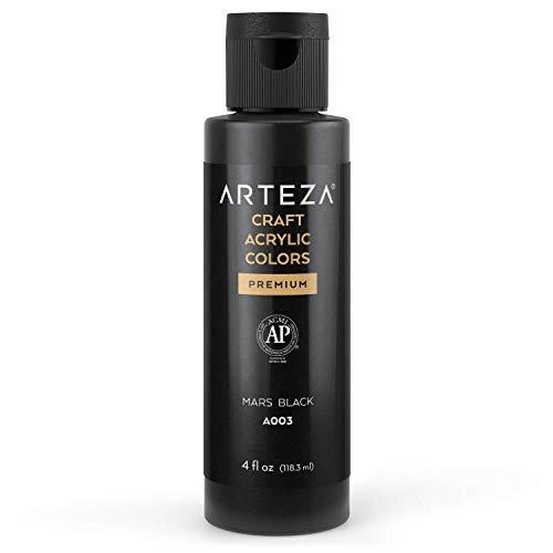 Arteza Craft Acrylic Paint, A003 Mars Black, 4fl oz (118 ml) Bottles, Water-Based, Blendable, Matte Acrylic Paints for Art & DIY Outdoor Projects on Glass, Wood, Ceramics, Fabrics, Paper & Canvas