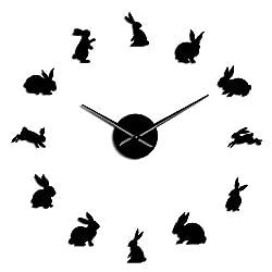 N /A Wall Clocks Frameless Cute Rabbit Shape Self Adhesive 3D DIY Wall Clock Quartz Acrylic Mirror Sticker Bunny Animals Creative Clock Watch Nordic Style Design Modern Creative and Elegant