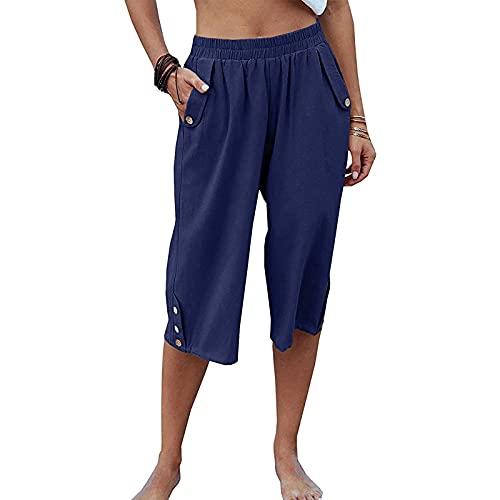 Dihope - Pantalón pirata de verano para mujer, transpirable, de algodón, para ocio, para la playa, con cordón de ajuste, pantalón ligero, Azul oscuro., S