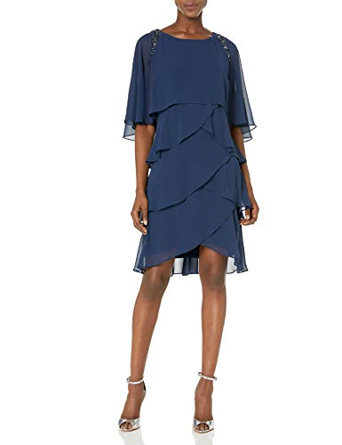 S.L. Fashions Women's Bead Shoulder Tier Attached Cape Dress, Navy, 14 (Apparel)