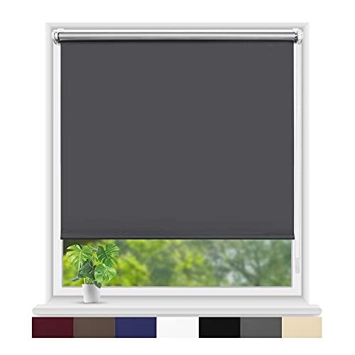 Eurohome Thermo Rollo Verdunkelungsrollo 70X160cm (Stoffbreite 66 cm) Grau Klemmfix ohne Bohren für Fenster und Tür
