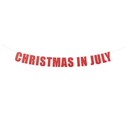 Christmas in July Banner Sign - Merry Christmas in July Party Banner Hanging Letter Sign (Red Metallic)