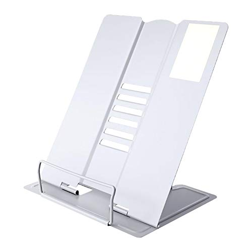 Book Holder Collapsible Book Stand Portable Book Stands,for Magazine/Document/Cookbook/Tablet White