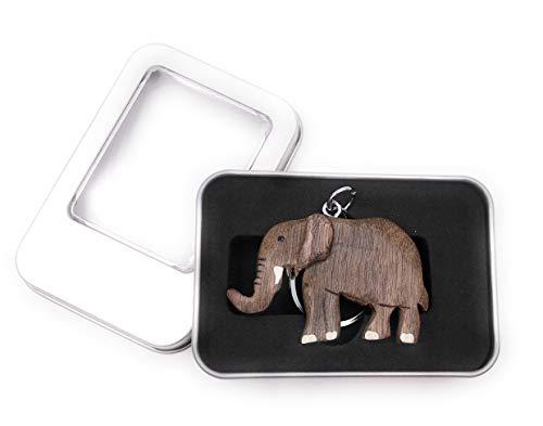 Onwomania Portachiavi Ciondolo in pachiderma di Animali di Terra con zanne di Elefante in Legno in Confezione Regalo