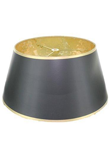 Upgradelights 35,6cm Schwarz mit Gold Bouillotte Lampenschirm in Einem glänzenden Schwarz Pergament