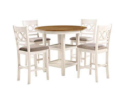 New Classic Furniture Cori 5-Piece Counter Dining Table Set, Bisque