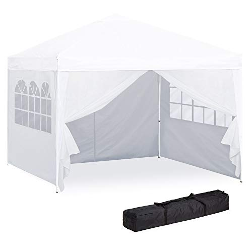 Best Choice Products 10x10ft Portable Pop Up Canopy Tent w/Detachable Window Walls, Zip-Up Doorway, Carrying Bag - White