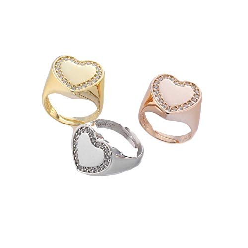 AleMi jewels Chevalier Swarovski Heart Ring - Yellow Gold, 925 Silver Rings Customised