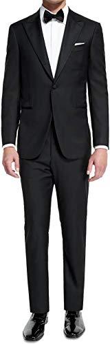 Ferrecci Men's Crisp Black Slim Fit Peak Lapel 2pc Tuxedo - 42R