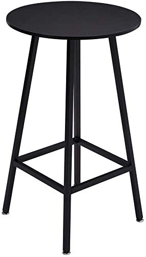 Mesa de bar de barras de barra de metal, mesa de desayuno redonda para restaurante, cocina, sala de estar, fácil de montar,Black