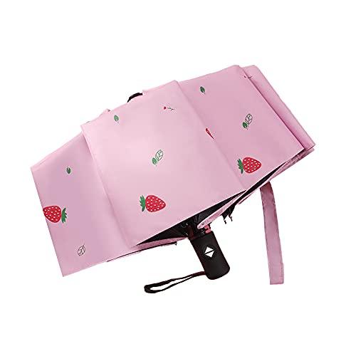 TreeLeaff Paraguas con diseño de fruta, apertura automática/cerrada, paraguas plegable con revestimiento de teflón, impermeable, resistente y duradero, se adapta en el bolso