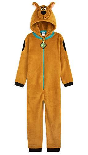 Scooby Doo Pijama Niño de Una Pieza, Pijama con Capucha 3D, Pijamas Niños Enteros Forro Polar, Regalos Originales para Niños y Adolescentes 3-14 Años (Marron, 3-4 Años)