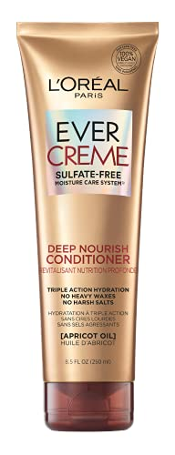 L'Oreal Paris EverCreme Deep Nourish Sulfate Free Conditioner, with Apricot Oil, 8.5 Fl; Oz (Pack of 1) (Packaging May Vary)