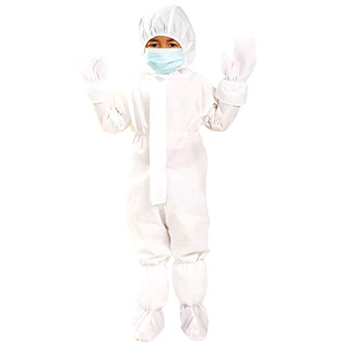 KESYOO Kinder Kapuze Isolation Kleid Medizinische Kleidung Sicherheitsschutz Overall Einweg-Laboranzug Mädchen Jungen