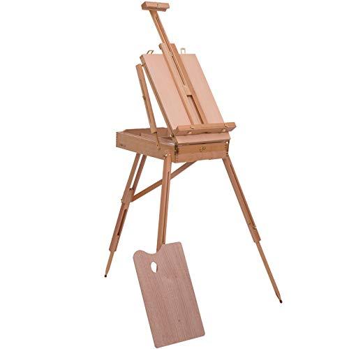 Chevalet d'artiste sur pieds pliable mallette de peinture chevalet avec rangement hauteur réglable bois de hêtre clair