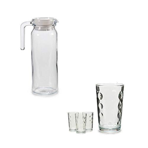 takestop® set BROCCA 1 liter + 4 glazen glazen 225ml karaf met handvat water Vino zoete drankhouder keuken huishouden