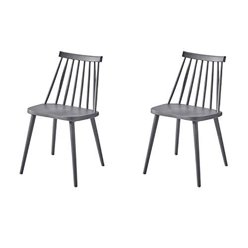 GroBKau - Juego de 2 sillas de comedor de plástico sin brazos con respaldo de husillo, diseño moderno (gris)