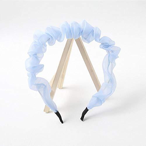 Turbantes para Mujer Diademas Diadema De Encaje con Pliegue Simple para Mujer, Diadema De Color Sólido, Turbante, Accesorios para El Cabello Dulce, Azul Cielo