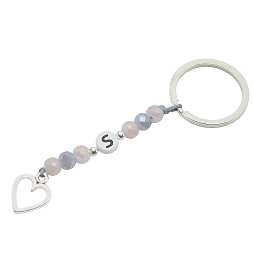 Sleutelhanger met letters, parels en hartvormige hanger in zilver handgemaakt - incl. geschenkverpakking