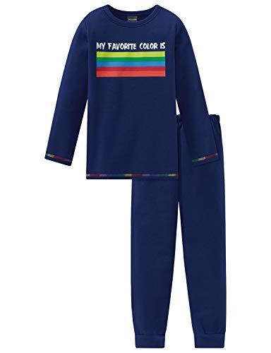 Schiesser Jungen Anzug lang Zweiteiliger Schlafanzug, Blau (Blau 800), (Herstellergröße: 104)
