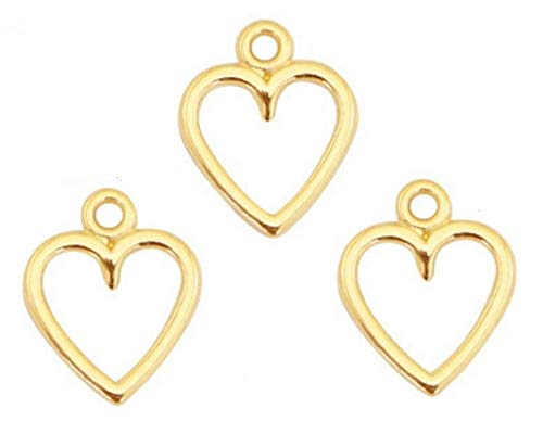 Sadingo Makramee Anhänger Verbinder Herz DQ Metall Gold, Herzanhänger Armband selber Machen, DIY Schmuck Ketten Ohrringe