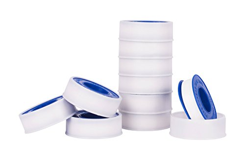"Premium White Pipe Water Sealant Plumbers Thread Tape - 1/2"" x 520"" - Pack Of 10 Rolls"