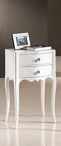 Legno&Design Chevet laqué Blanc 2 tiroirs cintré et bombé. Classique et Moderne