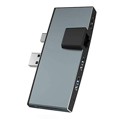 KKAAMYND Estación de Acoplamiento USB3.0 Convertidor 6 en uno Cargador de Viaje Adaptador de Corriente Enchufe Convertidor de plástico ignífugo para Surface Pro Hub, (Gris), expande tu Pantalla Vide