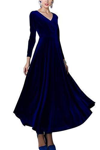 v28a long sleeve dresses Sevozimda Women Elegant Velvet Dress Long Sleeve V Neck Party Swing Maxi Dresses
