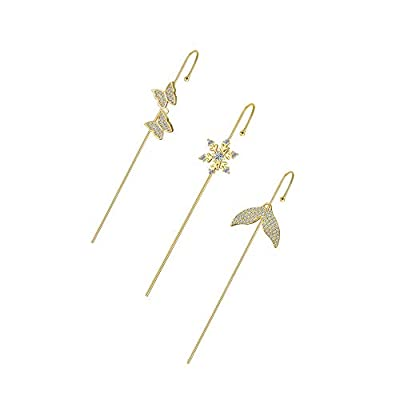 Amazon - 70% Off on 3 Pieces Ear Cuffs Crawler Hook Earrings for Women Gold Simple Pearl