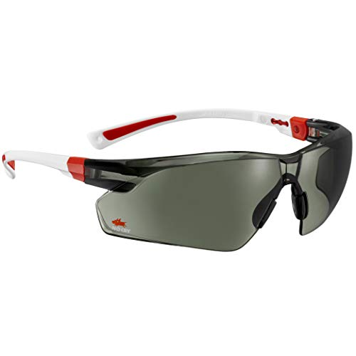 NoCry Work & Sports Safety Sunglasses - with Green Tinted Anti Scratch Wrap-Around Lenses, Non-Slip Grips, UV 400 Protection, Adjustable Fit, White & Red Frames