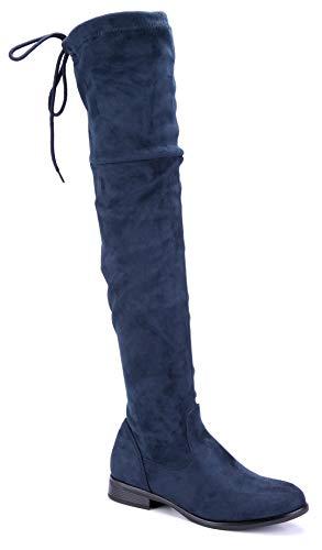 Schuhtempel24 Damen Schuhe Overknee Stiefel Stiefeletten Boots blau Blockabsatz Zierschleife/schlupf 3 cm