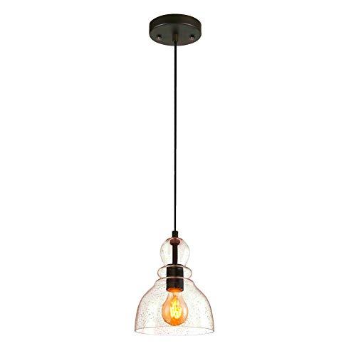 SISVIV Lámpara Colgante de Vidrio Industrial Vintage Luz Retro para Cocina Comedor Restaurante E27 Edison