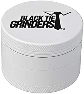 Black Tie Grinder - 2.5 Inch Herb Grinder, The Best Rated Herb Grinder with Carry Bag, 4-piece Anodized Aluminum (White Out)