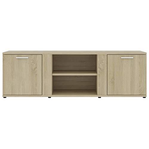 Bulufree Mueble de TV de Madera aglomerada de Roble Sonoma, Mueble de TV de Estilo Moderno para el hogar, Mueble de TV para Sala de Estar 120 x 34 x 37 cm (Largo x Ancho x Alto)