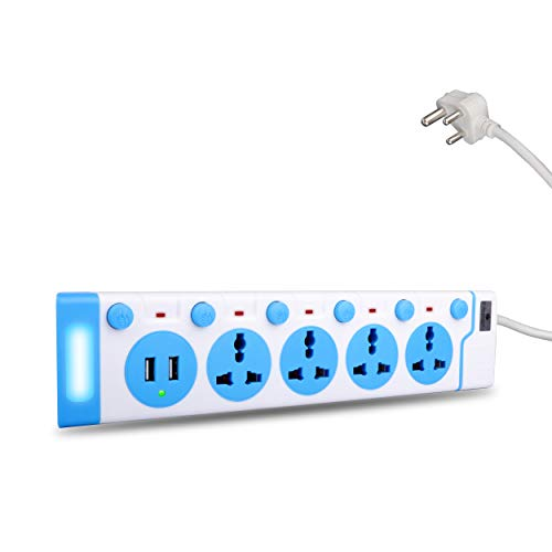 ZEBRONICS ZEB-PS4320L USB Plus 2500W Power Extension Socket with 4 Universal sockets with 2 USB Ports and On/Off Switch