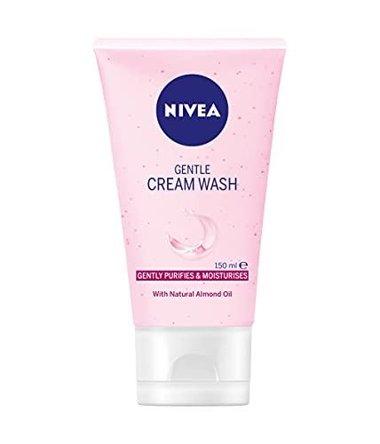 NIVEA mild ansiktsrengöring krämtvätt för torr och känslig hud (150 ml), rosa