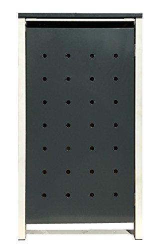 BBT@ | Hochwertige Mülltonnenbox für 3 Tonnen je 240 Liter mit Klappdeckel in Grau / Aus stabilem pulver-beschichtetem Metall / Stanzung 1 / In verschiedenen Farben sowie mit unterschiedlichen Blech-Stanzungen erhältlich / Mülltonnenverkleidung Müllboxen Müllcontainer - 8