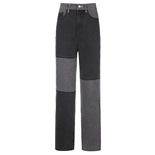 langchao Jeans de Bloque de Color de Moda para Mujer, Cintura Alta con Bolso de Patchwork, Jeans de Pierna Recta